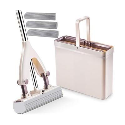 スポンジモップ 吸水モップ スポンジワイパー バケツ付き 伸縮可能 水拭きモップ 床掃除 吸水力抜群 掃除モップ バスルーム キッチン 替えヘッド2個