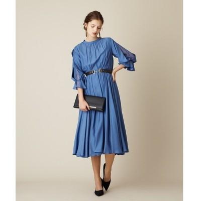 ドレス ラッフルカフススリーブギャザースカートワンピースドレス【aimer anche】/ 結婚式・2次会・パーティードレス
