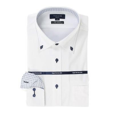 ノーアイロンストレッチ スリムフィットボタンダウン長袖ニットビジネスドレスシャツ/ワイシャツ
