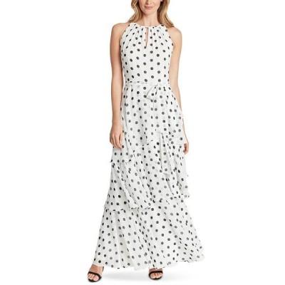 タハリエーエスエル  ワンピース トップス レディース Dot-Printed Tiered Chiffon Gown White/Black