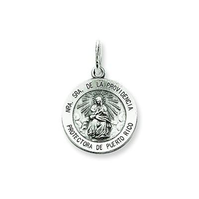 スターリング シルバー アンティーク De La Providencia メダル ペンダント ネックレス w/チェーン(海外取寄せ品)