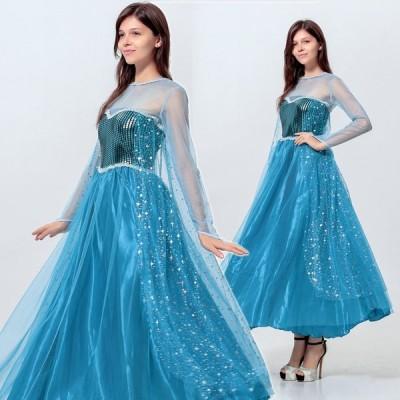 アナ アナと雪の女王 コスプレ衣装 エルサ ハロウィン衣装 ロング丈ドレス レディース 大人用 コスチューム