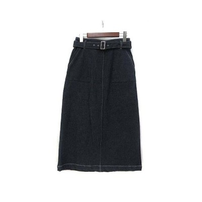 【中古】ストラ Stola. デニム スカート 38 M インディゴ ミモレ ベルト 無地 シンプル 美品 レディース 【ベクトル 古着】