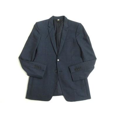 美品▼BURBERRY LONDON バーバリーロンドン ナローラペル シルク混 シングルジャケット/テーラード 48R ネイビー 正規品 イタリア製