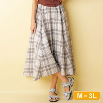 Ranan 【M~3L】チェック柄フレアースカート ソノタ L レディース