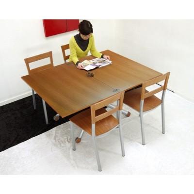イタリア製 伸長式 リフティング テーブル Esprit チェリー色 天然木天板 高さ 37〜82cm 無段階調節 昇降 リフトアップ ダイニングテーブル 天板70~140cm