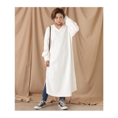 起毛カットソーVネックワンピース (ホワイト(001))