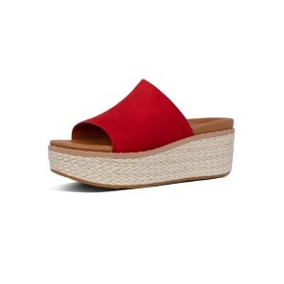 フィットフロップ レディース サンダル シューズ Women's Eloise Espadrille Suede Wedge Slides Sandal Red