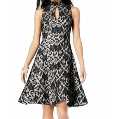 ファッション ドレス Jax NEW Black Women Size 2 Mock-Neck Keyhole Fit & Flare A-Line Dress
