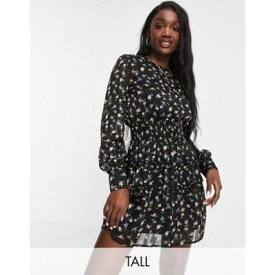 ミスガイデッド レディース ワンピース トップス Missguided Tall mini dress with shirred waist in black floral