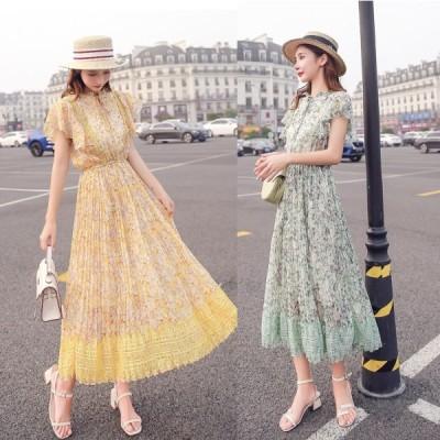 ドレス ロングドレス サマードレス ワンピース ビーチワンピース 花柄 プリーツ 半袖 カジュアル ガーリー