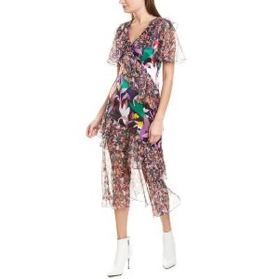 プラバルグラング レディース ワンピース トップス PRABAL GURUNG Ruffle Silk Midi Dress navy multicolor