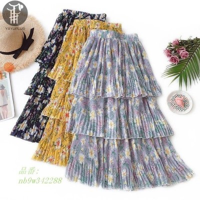 フリルスカート ロング 花柄スカート フレア フリル ロングスカート マキシスカート 大人 フレアスカート レディース ウエストゴム レディース 花柄