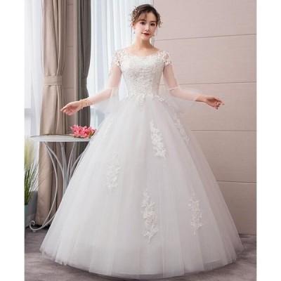 ウェディングドレス レディース チュール重ね プリンセス 刺繍柄 スレンダーライン ブライダル 花嫁 結婚式 二次会 お呼ばれ 2枚送料無料