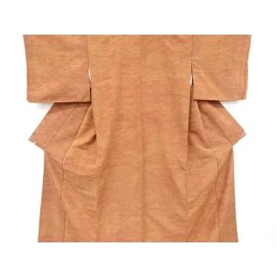 宗sou 垣根に草花模様織り出し手織り節紬着物【リサイクル】【着】