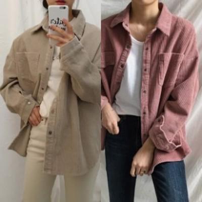 コーデュロイ シャツジャケット レディース 韓国 ファッション レディース 春アウター レディース cpo シャツ ジャケット 羽織り ビッグ
