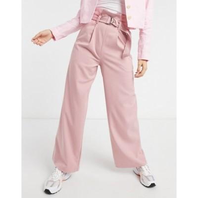 モンキ レディース カジュアルパンツ ボトムス Monki Vera wide leg high waist pants in pink