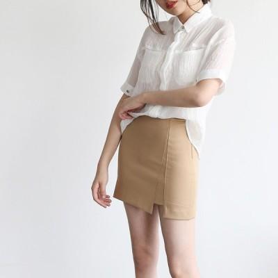 シャツ レディース 半袖 無地 カジュアルシャツ シースル カーディガン