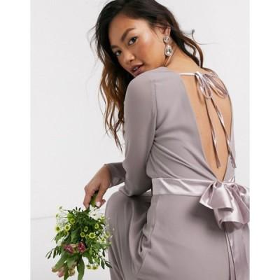 ティエフエヌシー レディース ワンピース トップス TFNC Bridesmaids long sleeve bow back maxi dress in gray