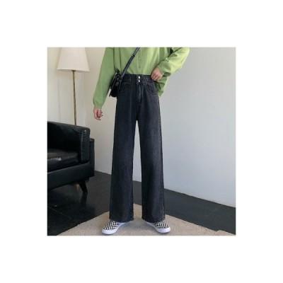 【送料無料】女性のジーンズ 荷重 秋 ファッション ハイウエスト 着やせ ストレート | 364331_A63748-1762900