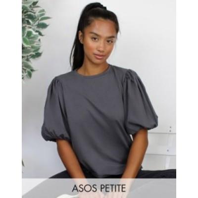 エイソス レディース シャツ トップス ASOS DESIGN Petite- t-shirt with puff sleeve in wash Charcoal