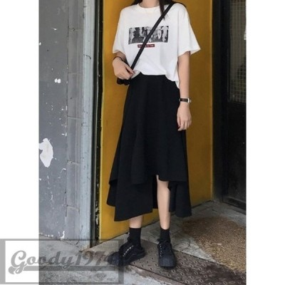 アシンメトリー ブラック ロングスカート スカート 韓国