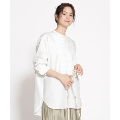 WEB限定/ピンタックドレスシャツ 長袖 ホワイト