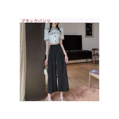 【送料無料】韓国風 風 人形の襟 パフ ショートシャツ ハイウエスト ルース ストレート レジャー | 364331_A62840-3656844