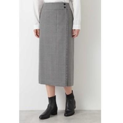 ◆ウールチェックグミ加工ストレートスカート