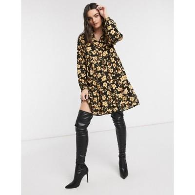 ヴィラ レディース ワンピース トップス Vila long sleeve smock dress in yellow floral print