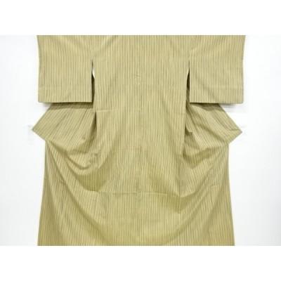 リサイクル 縞織り出し手織り節紬着物
