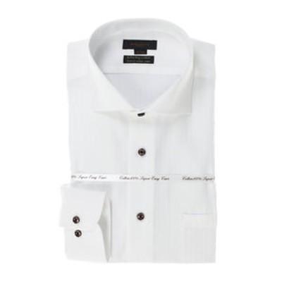 綿100% 形態安定 スリムフィットカッタウェイ長袖SHUTOビジネスドレスシャツ/ワイシャツ
