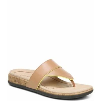 バイオニック レディース サンダル シューズ Jillian Leather Cork Wedge Thong Sandals Macaroon