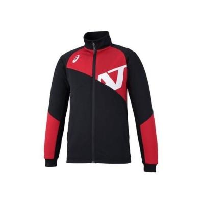 asics アシックス A77トレーニングジャケット XAT719 ブラック/レッド<店頭在庫限り>