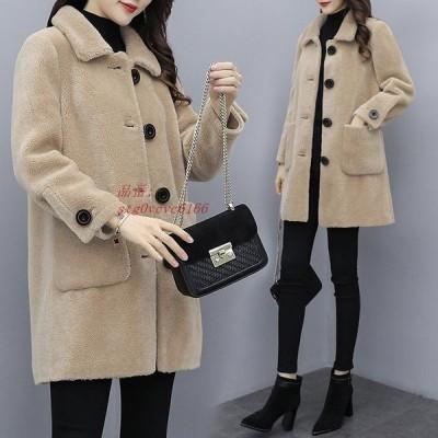 ファーコート 暖かい ファージャケット 冬 毛皮コート ファージャケット アウター 40代 レディース ミディアム丈 オシャレ モコモコ 新品 エコファーコート