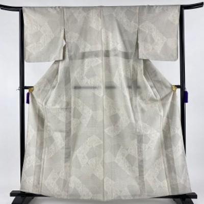 紬 名品 寄せ柄 草花 亀甲絣 灰白 単衣 身丈161cm 裄丈64cm M 正絹 中古