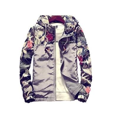 Veamor メンズ アウター ジャケット ブルゾン 男女兼用 ウインドブレーカー プリント柄 マウンテンパーカー 防風 メンズファッション