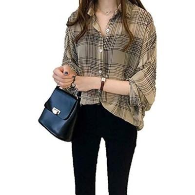 AS17 チェックシャツ オーバーサイズ レディースチェック シフォン レディース韓国風 チュニックエプロン オオキイ(ベージュ, L)