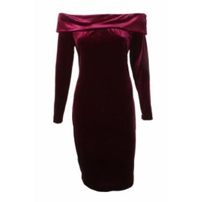 Calvin Klein カルバンクライン ファッション ドレス Calvin klein wine long sleeve shoulder uncovered velvet straight dress 12
