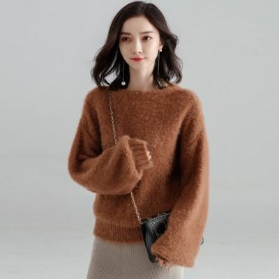 新着商品 ニット レディース トップス 長袖 厚手 シンプル  M/Lサイズ 3色 セーター カジュアル シンプル  秋 冬 伸縮性