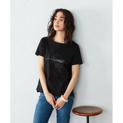 (COMME CA ISM/コムサイズムレディス)プリントTシャツ 半袖/レディース ブラック