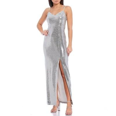 ヴィンスカムート レディース ワンピース トップス Sweetheart Neck Sleeveless Metallic Slit Front Gown