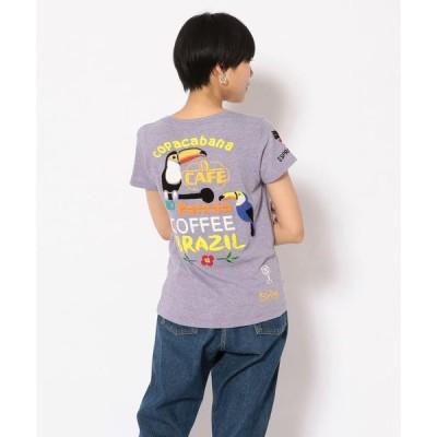 【RAWLIFE】【RAWLIFE限定】birdog/バードッグ/hand embroidery t−shirts −COFFEE−/手刺繍Tシャツ