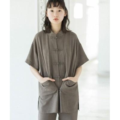 シャツ ブラウス リネン風オーバーサイズチャイナシャツジャケット