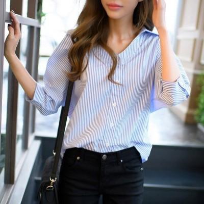 シャツブラウスレディースストライプ柄シャツ七分袖vライン前開きカジュアルコットン綿女性夏