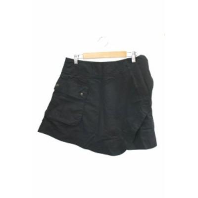 【中古】レイビームス Ray Beams QUALITY CLOTHES キュロット ショート ラップ ジップフライ リボン 1 黒 ブラック レディース