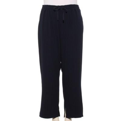 Tasha ruby[大きいサイズ] (ターシャルビー) レディース 裾スリットワイドパンツ ネイビー 3L~4L
