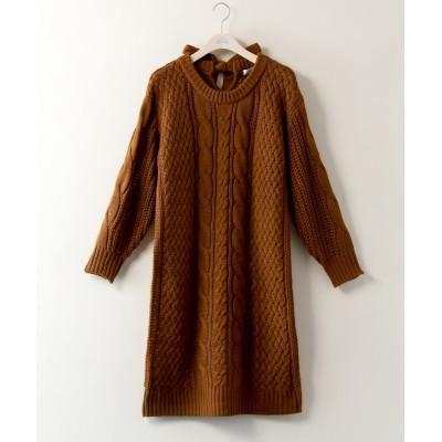 大きいサイズ バックリボンケーブルニットチュニックワンピース【JINTY】 ,スマイルランド, ワンピース, plus size dress
