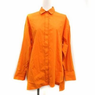 【中古】エンフォルド ENFOLD 20SS シャツ ブラウス SOMEOLS Big ポケット 長袖 38 M オレンジ /KH レディース