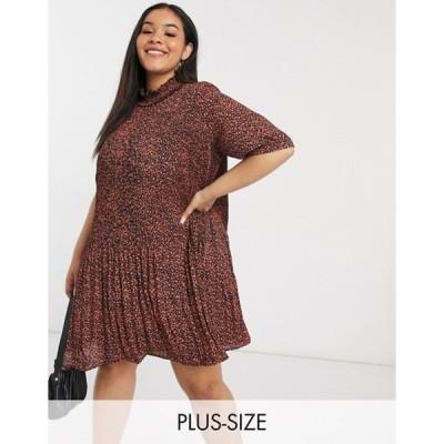 ヴェロモーダ レディース ワンピース トップス Vero Moda Curve plisse mini dress in spot print